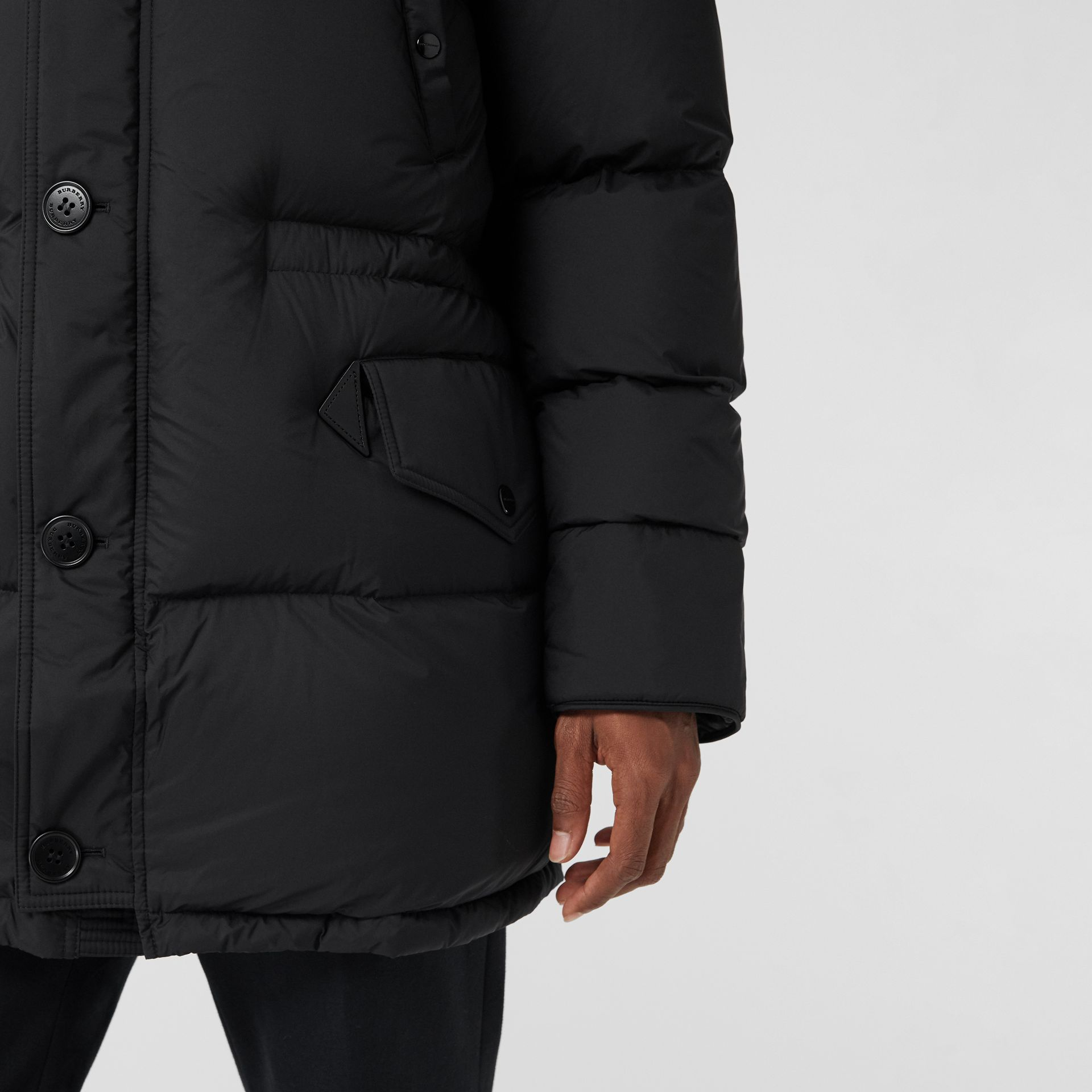 Check Detail Down-filled Hooded Puffer Coat in Black - Men | Burberry - gallery image 5