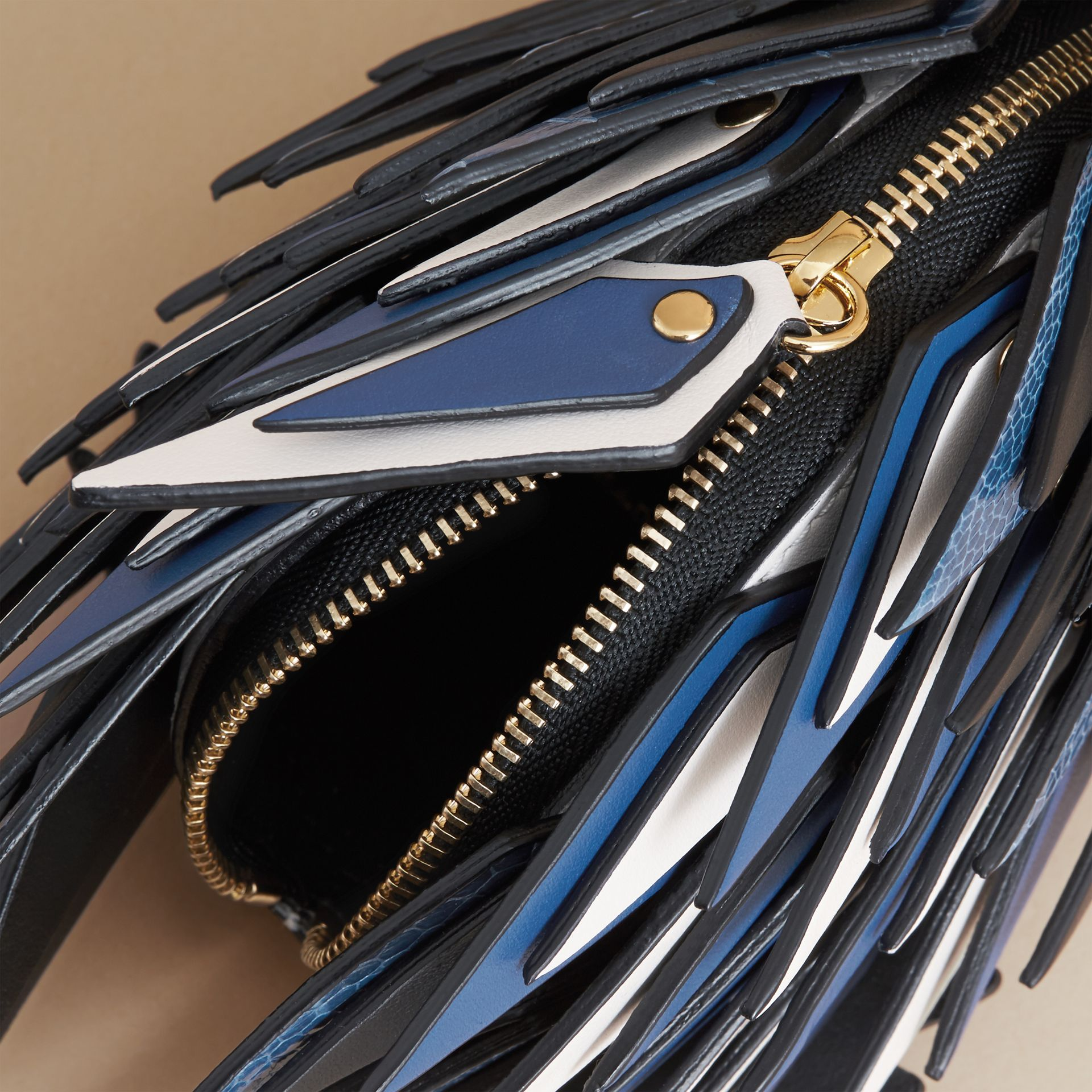 The Hedgehog – Leather and Ostrich Coin Case in Black - Women | Burberry Singapore - gallery image 5