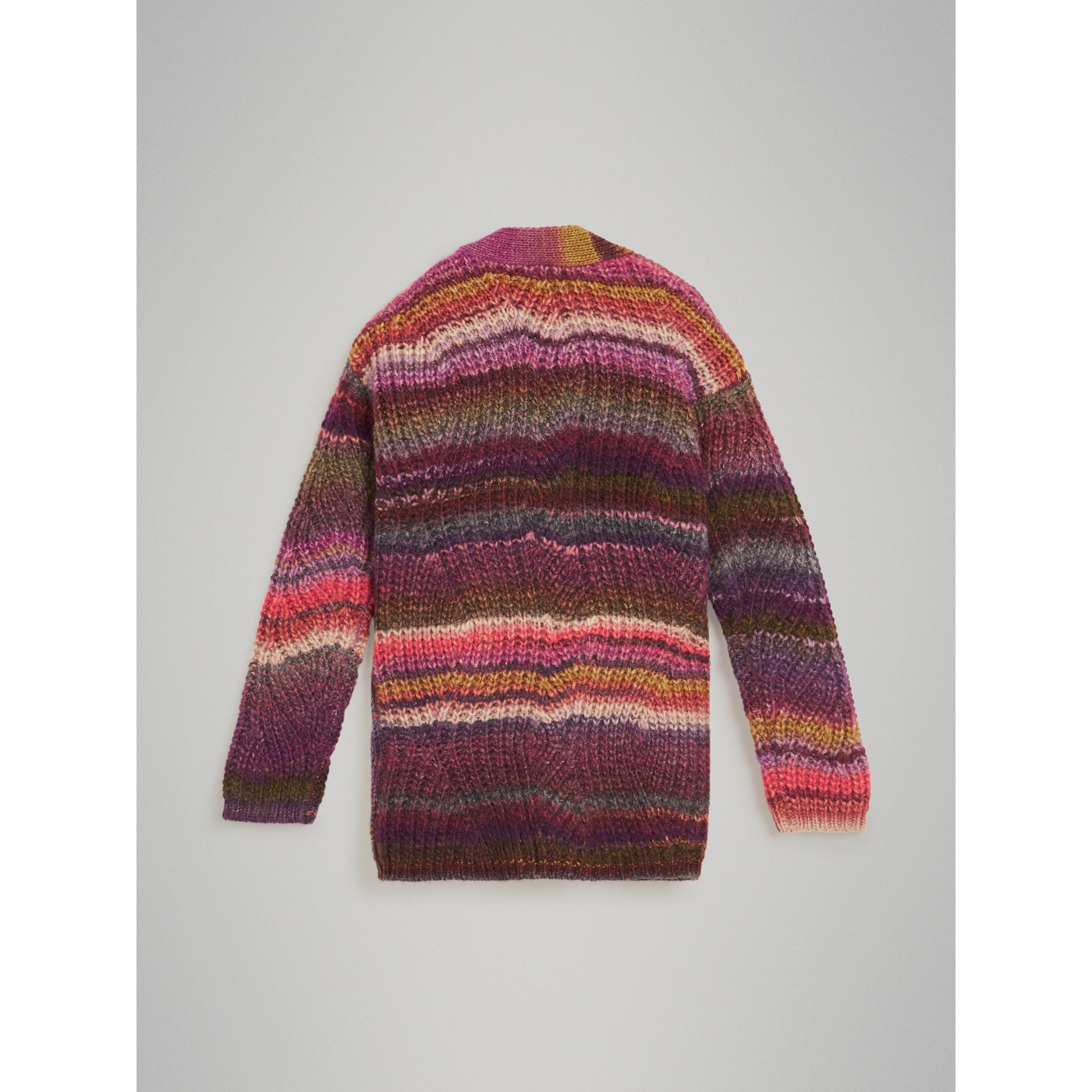 Rib Knit Wool Blend Cardigan in Multicolour | Burberry - gallery image 3