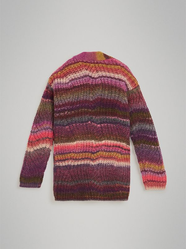 Rib Knit Wool Blend Cardigan in Multicolour | Burberry - cell image 3