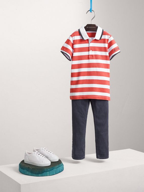 Striped Cotton Polo Shirt in Pale Cinnamon - Boy | Burberry Singapore