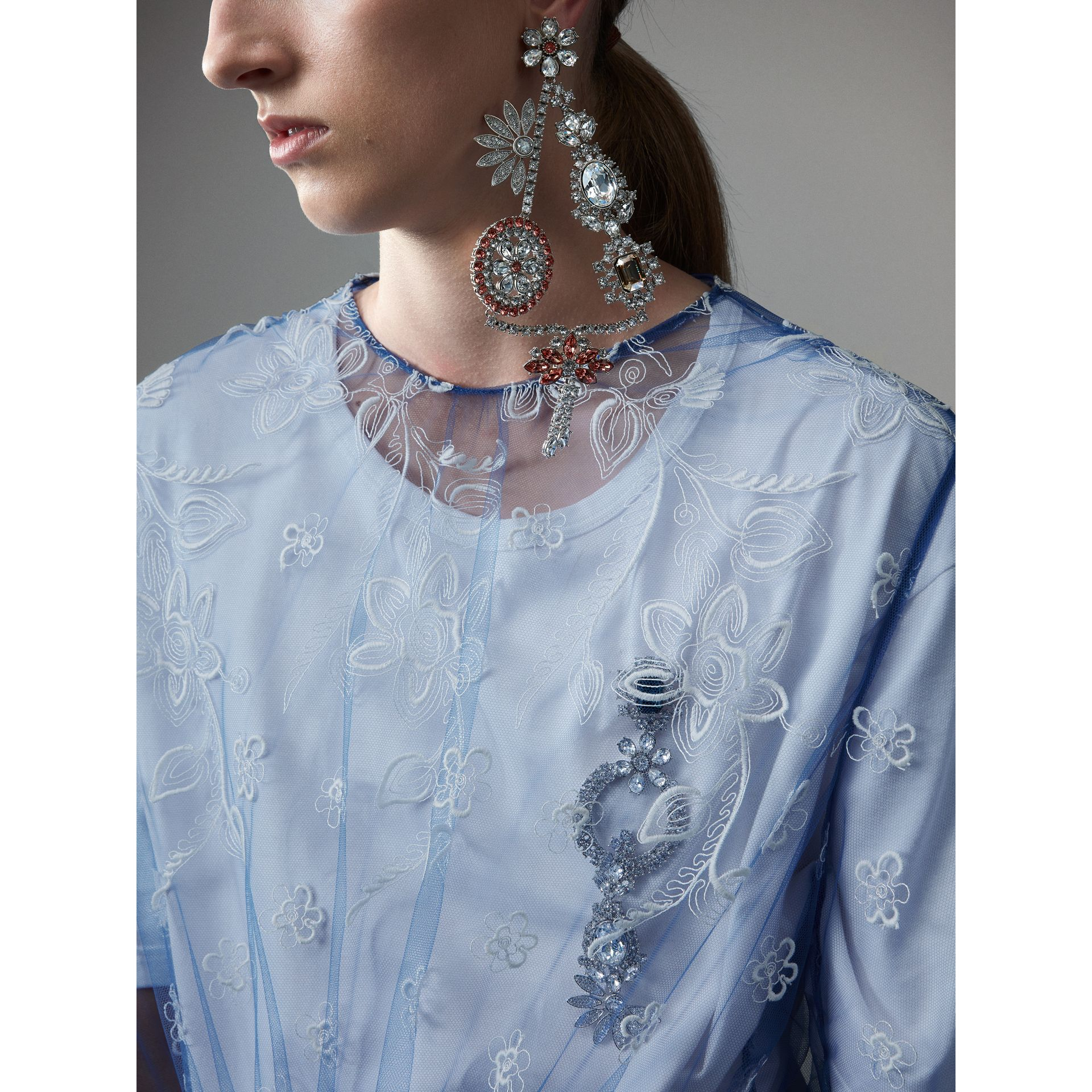 Puff-sleeve Embroidered Tulle Dress in Hydrangea Blue/white - Women | Burberry United Kingdom - gallery image 4