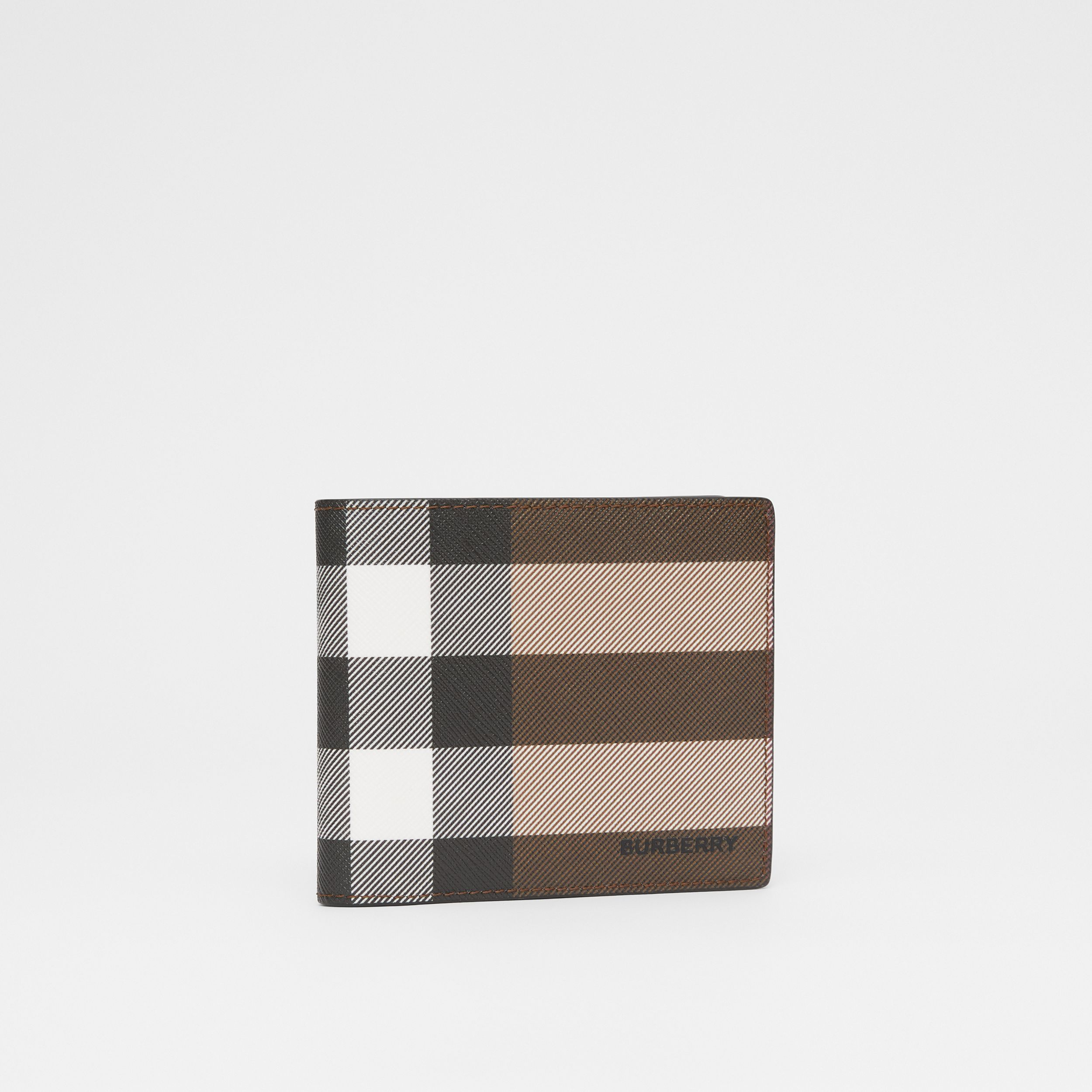 Check E-canvas International Bifold Wallet in Dark Birch Brown - Men | Burberry - 4