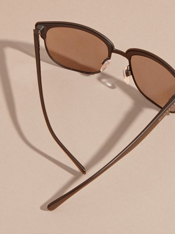 Textured Front Square Frame Sunglasses in Black - Men | Burberry Hong Kong - cell image 3