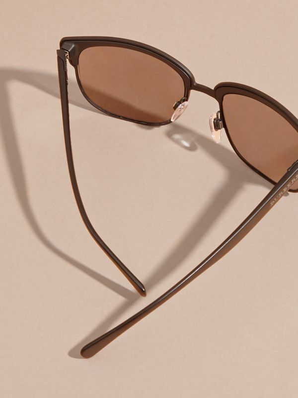 Textured Front Square Frame Sunglasses in Black - Men | Burberry Australia - cell image 3