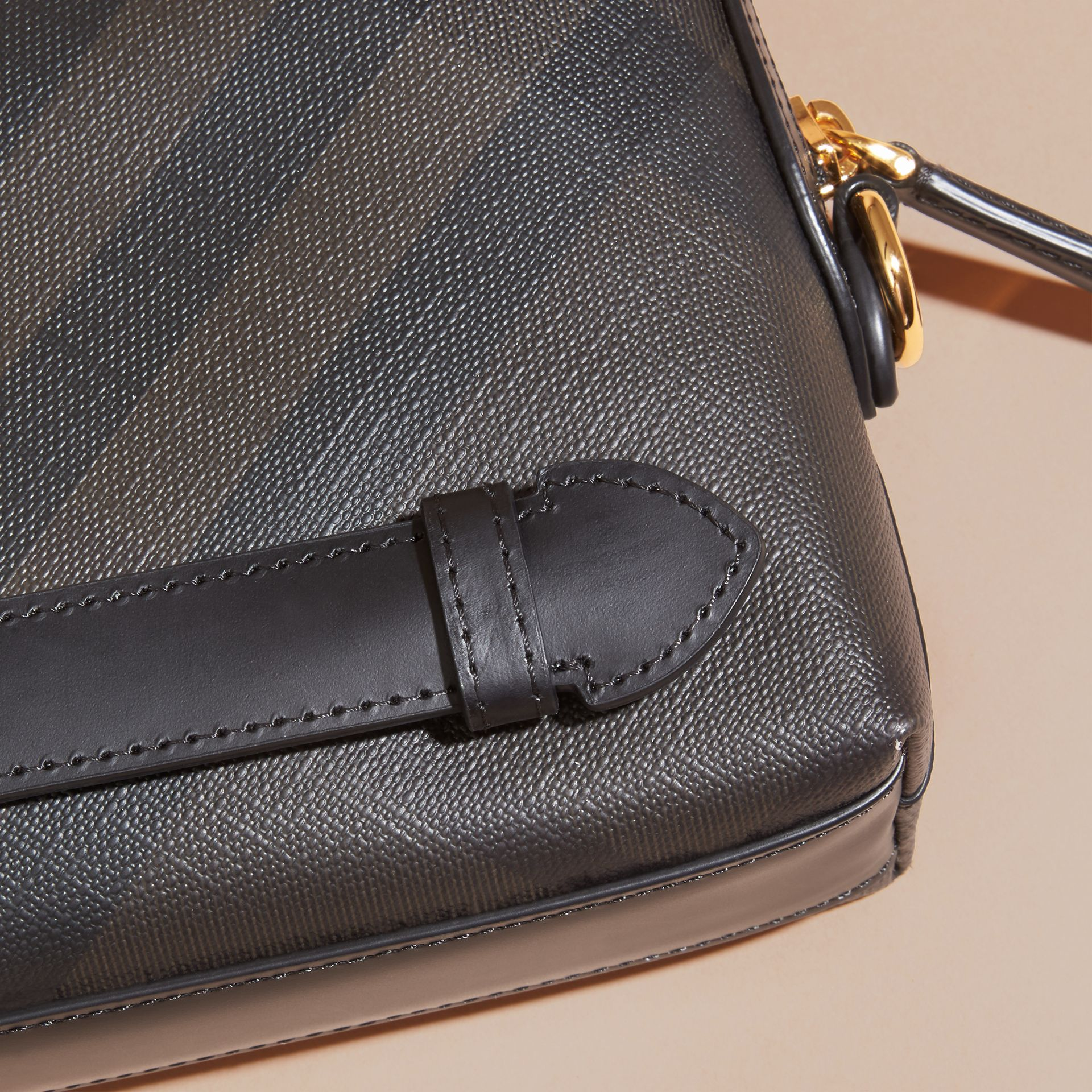 Chocolate/black Leather-trimmed London Check Pouch Chocolate/black - gallery image 2