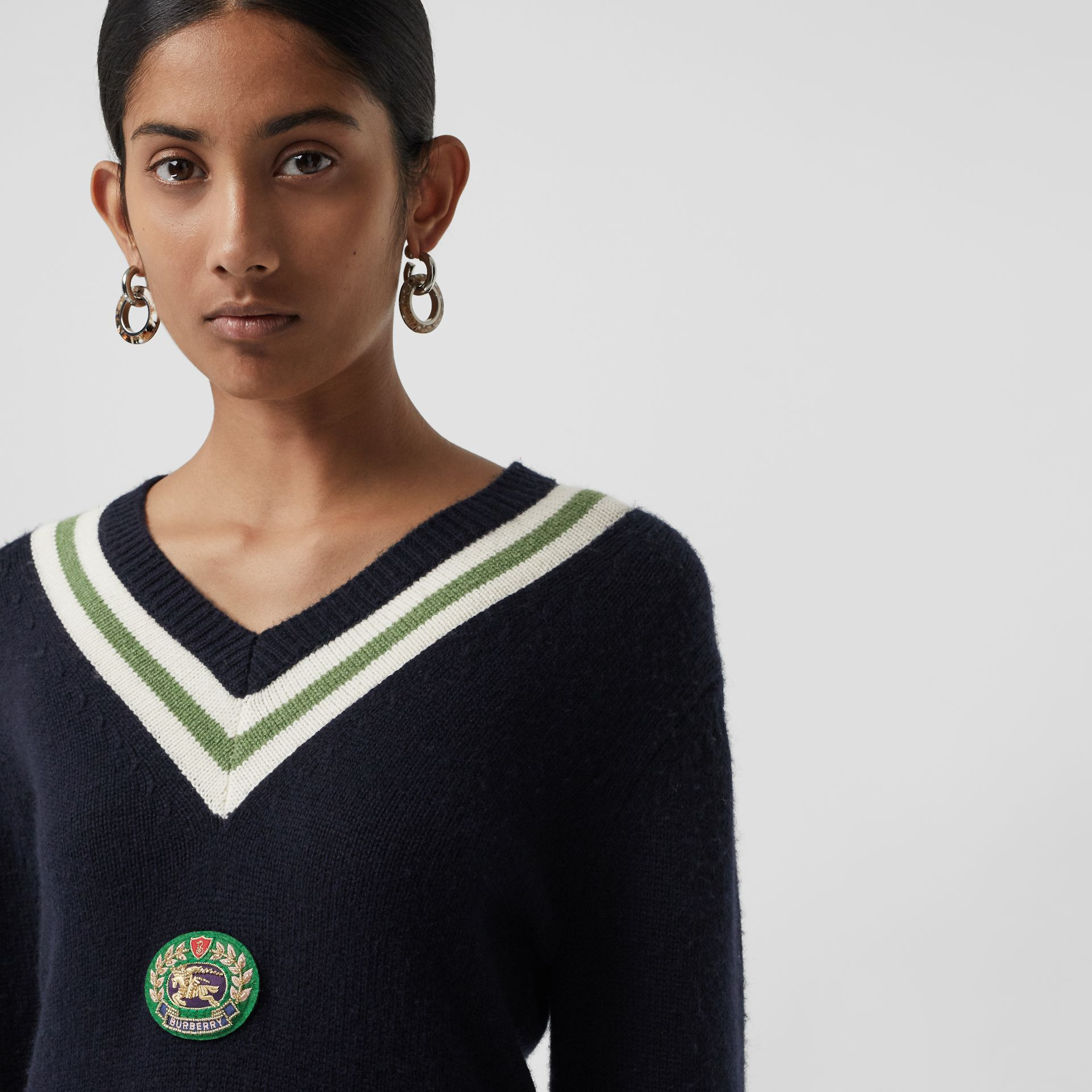 Embroidered Crest Wool Cashmere Sweater in Navy - Women | Burberry - gallery image 1