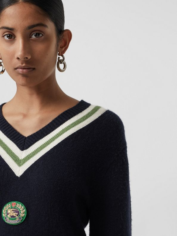 Embroidered Crest Wool Cashmere Sweater in Navy