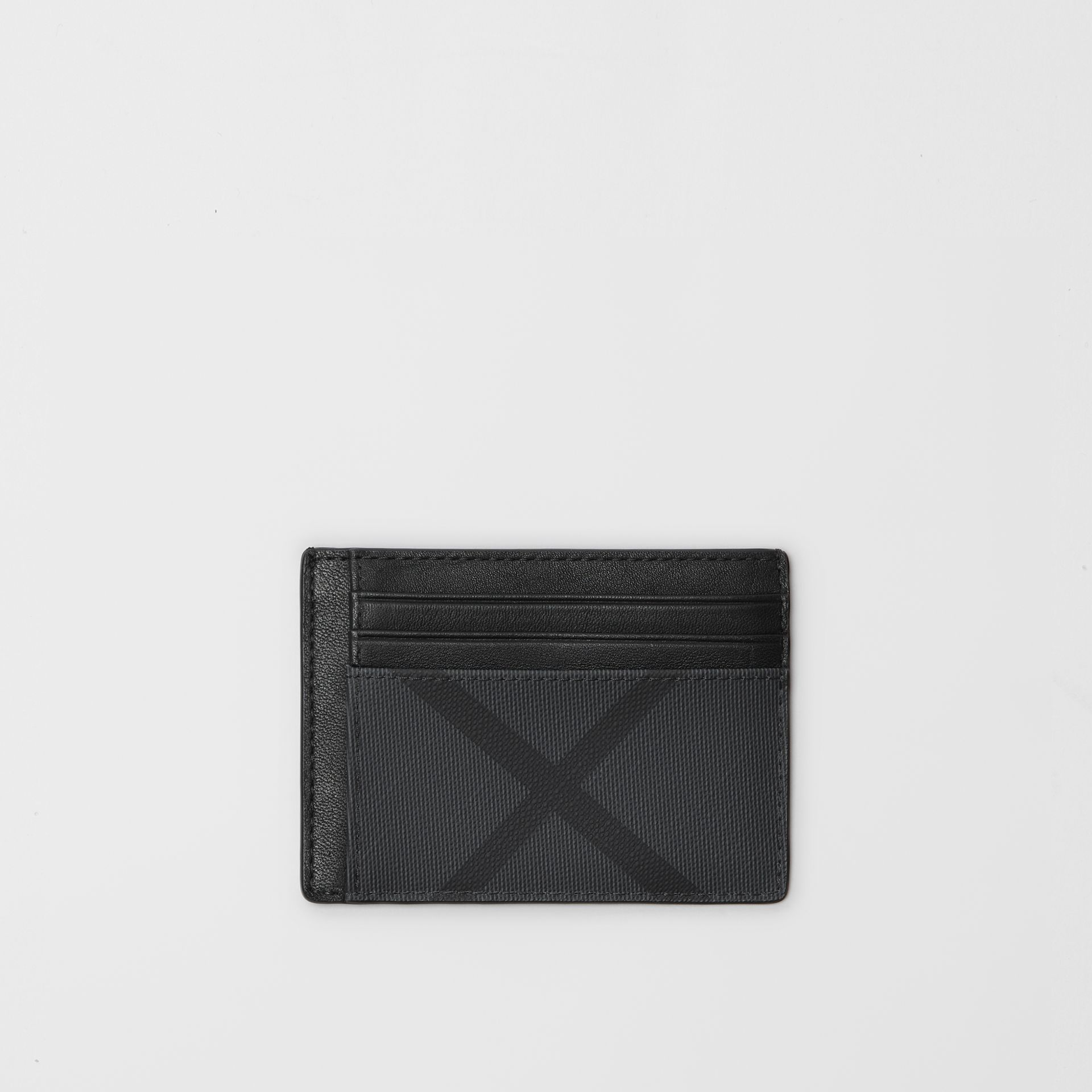 London Check and Leather Card Case in Charcoal/black - Men | Burberry Singapore - gallery image 0