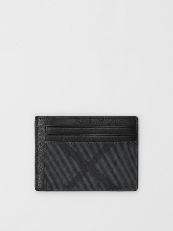 London Check and Leather Card Case in Charcoal/black