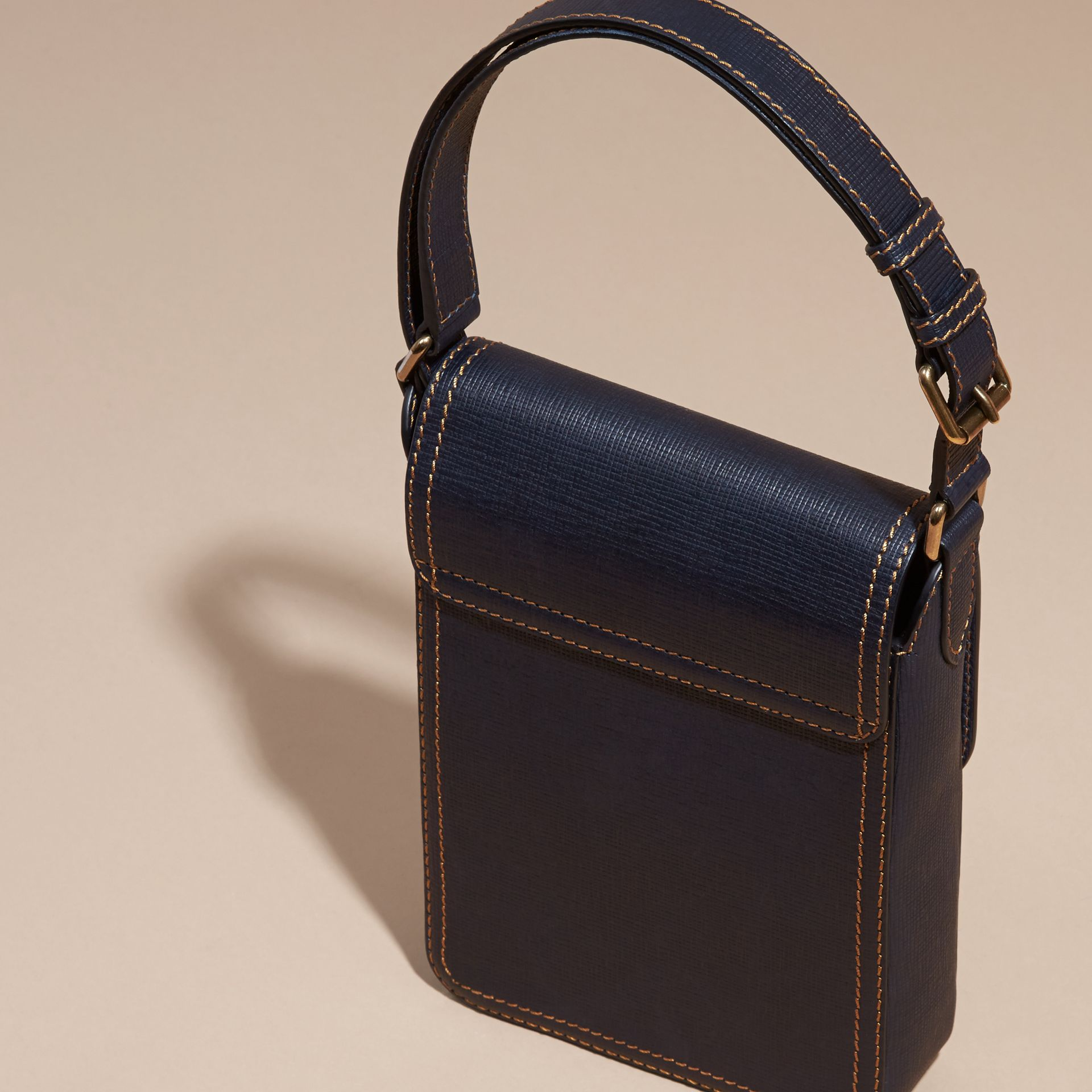 Dark navy The Small Satchel in Textured Leather - gallery image 4