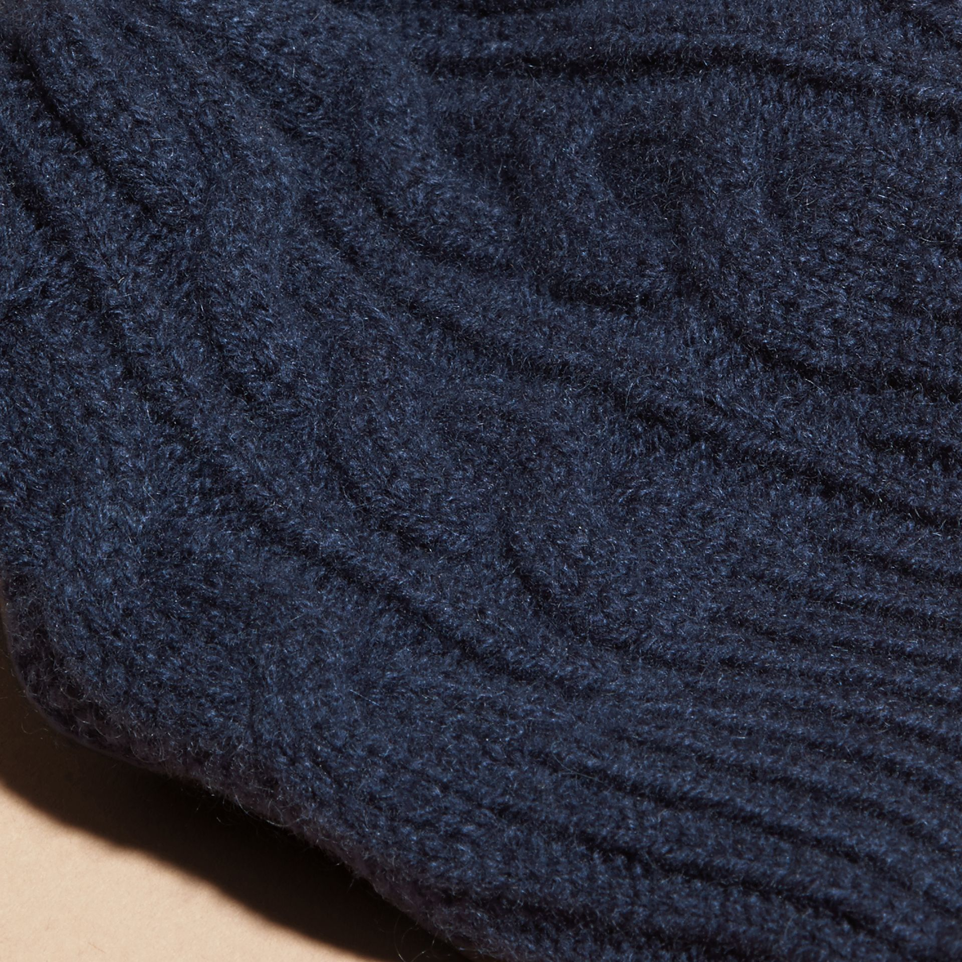 Navy Cable Knit Wool Cashmere Beanie - gallery image 3