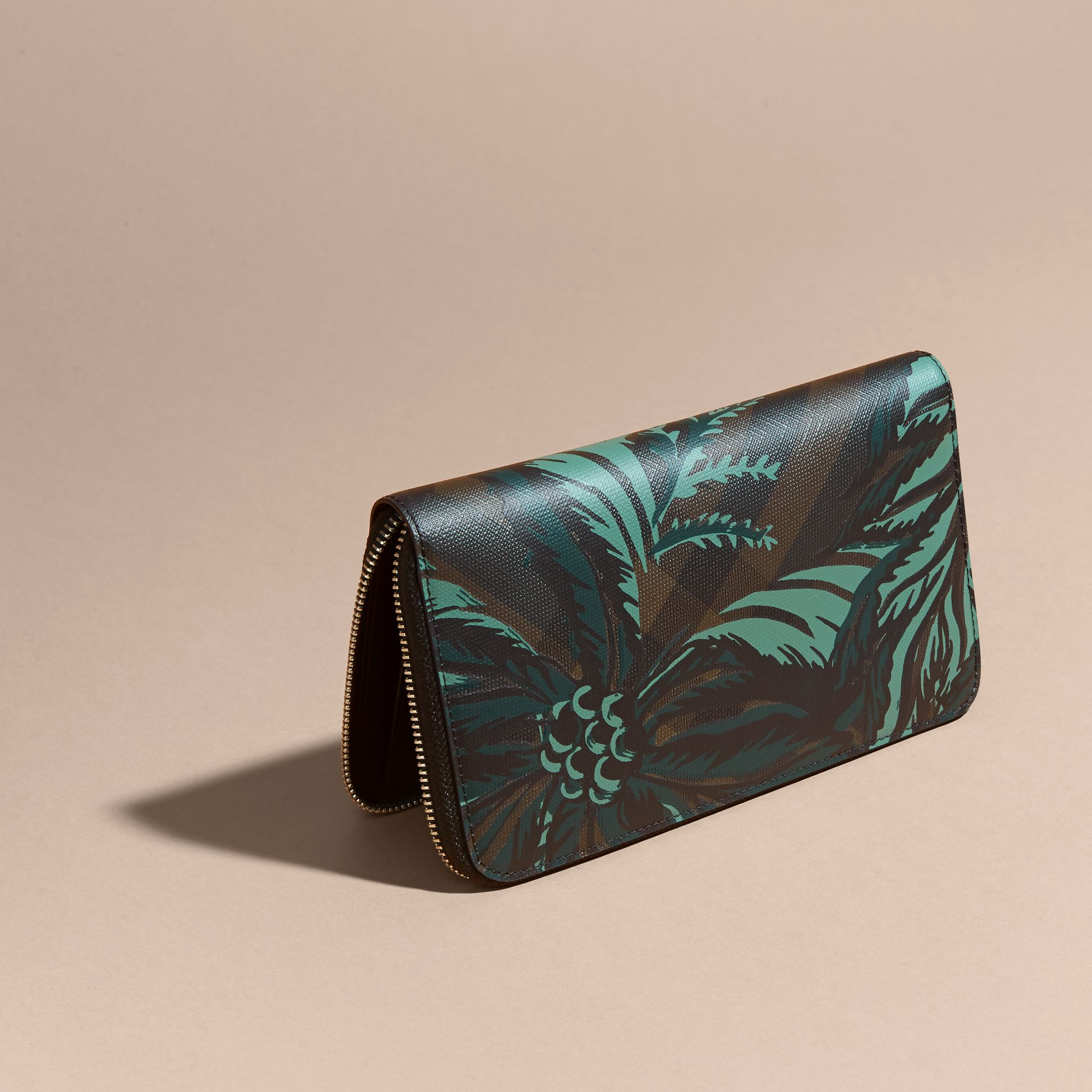 Floral Print London Check Ziparound Wallet Chocolate - gallery image 4