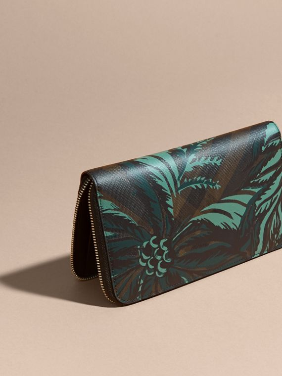 Floral Print London Check Ziparound Wallet Chocolate - cell image 3