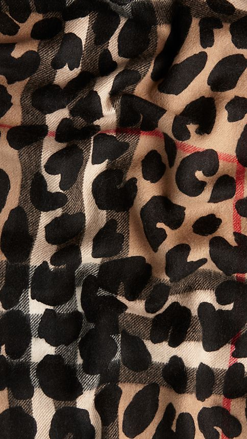 Camel check Animal Print Check Cashmere Scarf - Image 4