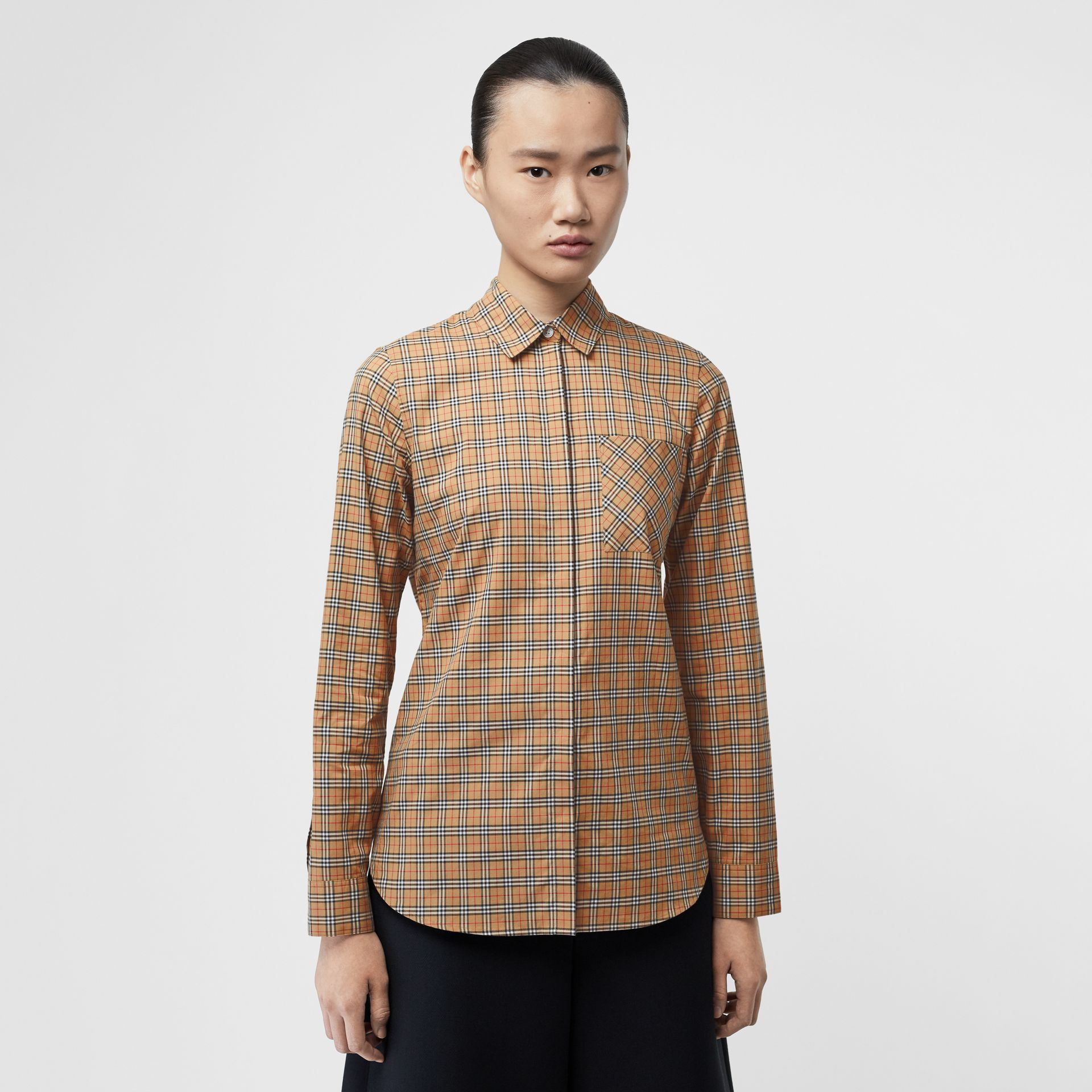 Check Cotton Shirt in Antique Yellow - Women | Burberry - gallery image 0