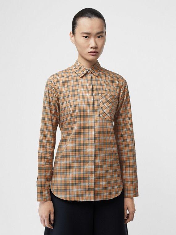 Check Cotton Shirt in Antique Yellow