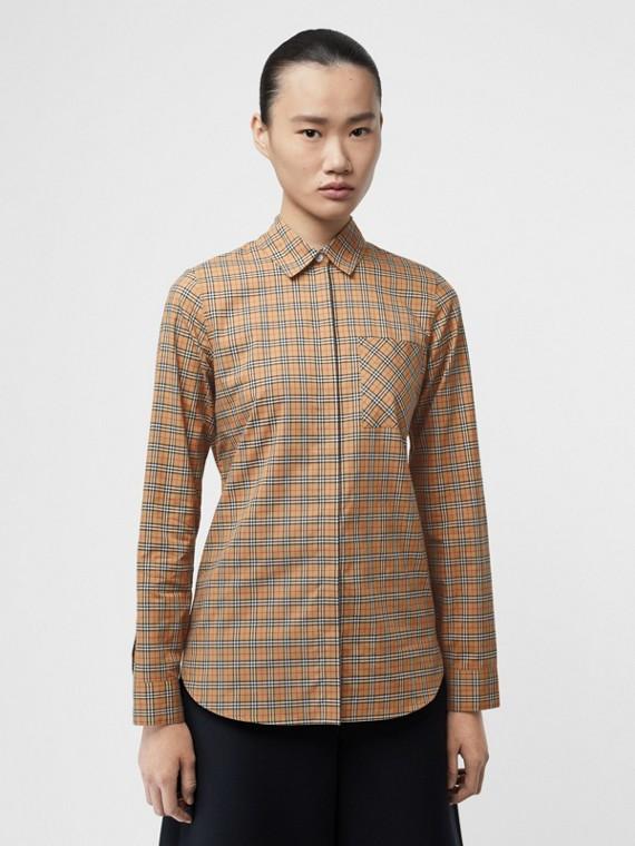Camicia in cotone con motivo tartan (Giallo Antico)