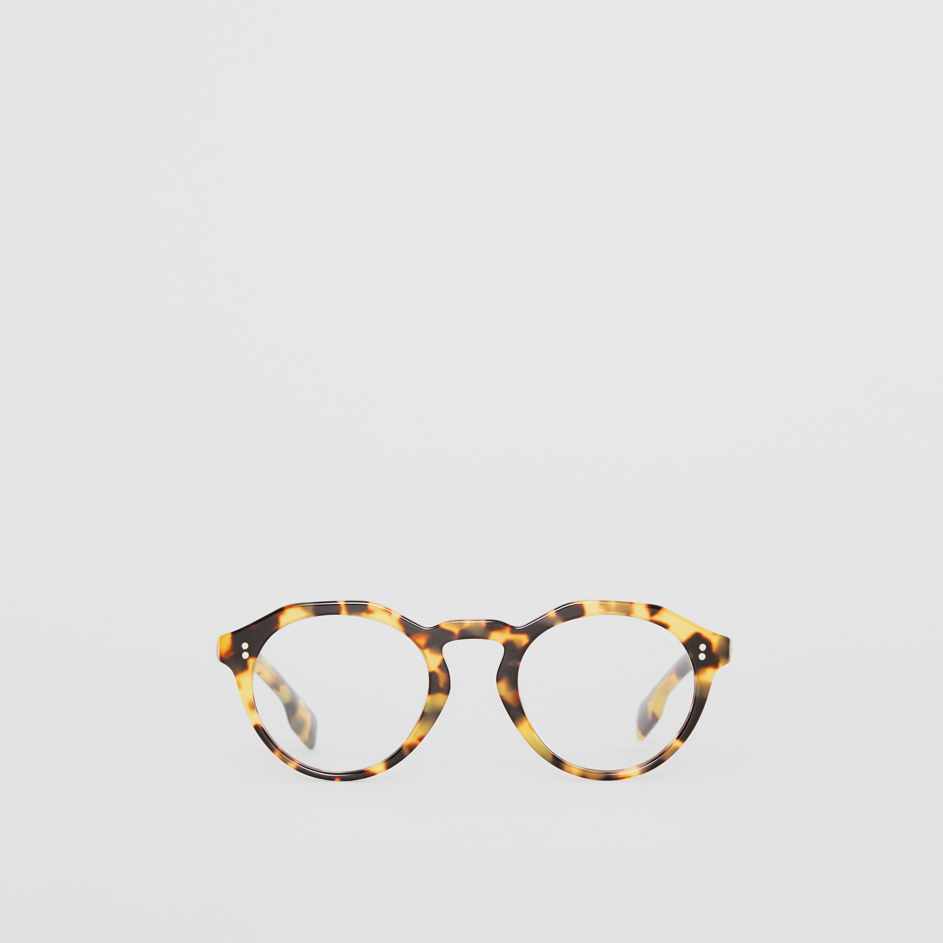 Keyhole Round Optical Frames in Tortoise Shell - Men | Burberry United Kingdom - gallery image 0