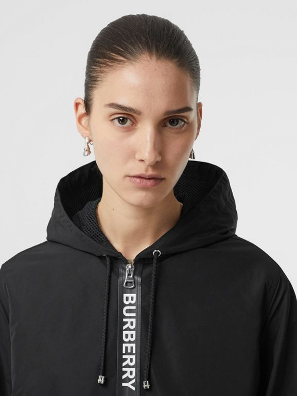 Logo Detail Shape-memory Taffeta Hooded Jacket in Black - Women | Burberry United Kingdom - cell image 1