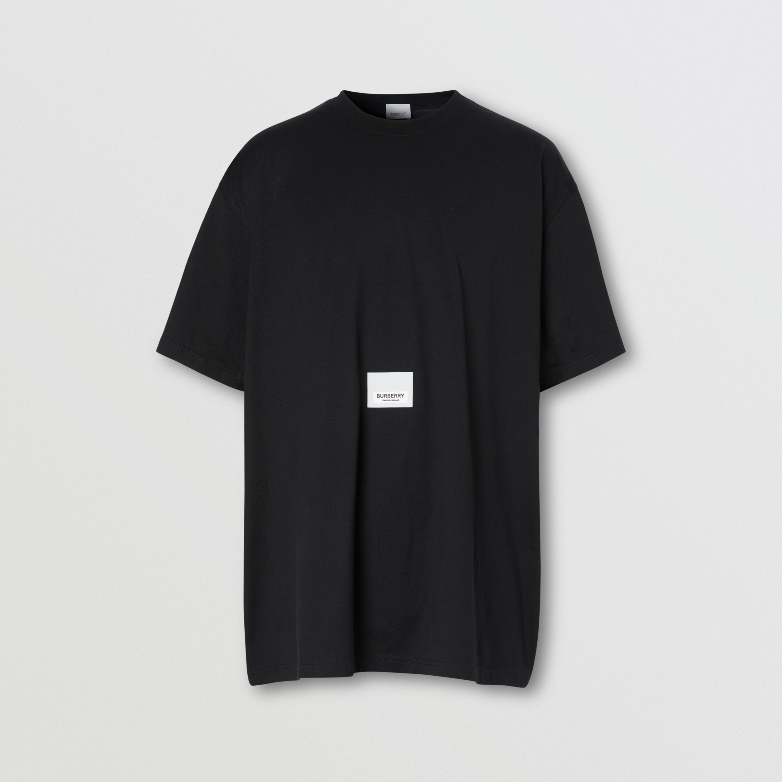Logo Print Cotton T-shirt in Black | Burberry - 4