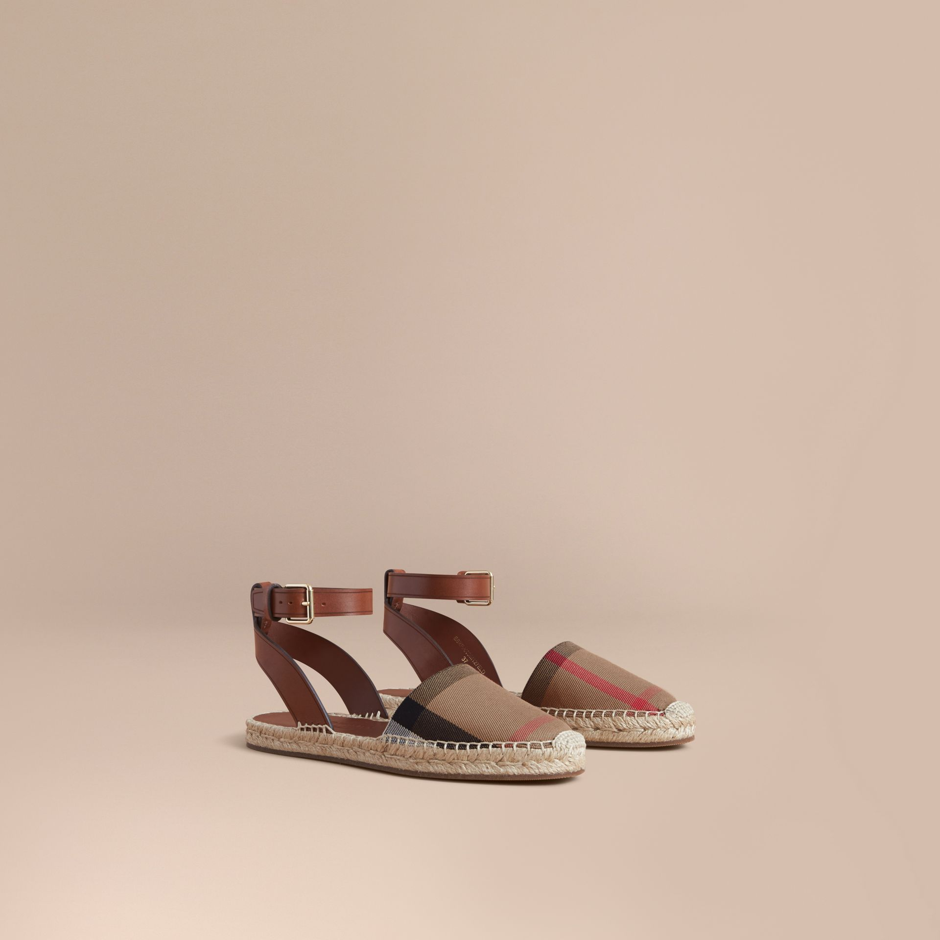 Leather and House Check Espadrille Sandals in Dark Tan - Women | Burberry Hong Kong - gallery image 1