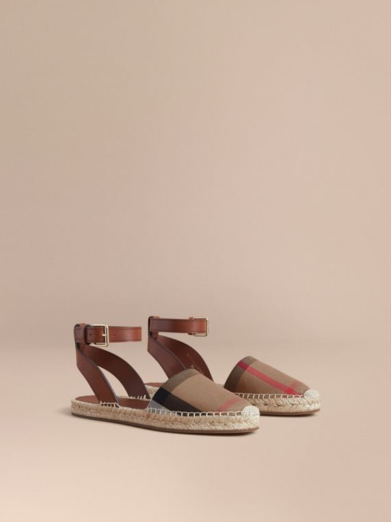 Leather and House Check Espadrille Sandals in Dark Tan