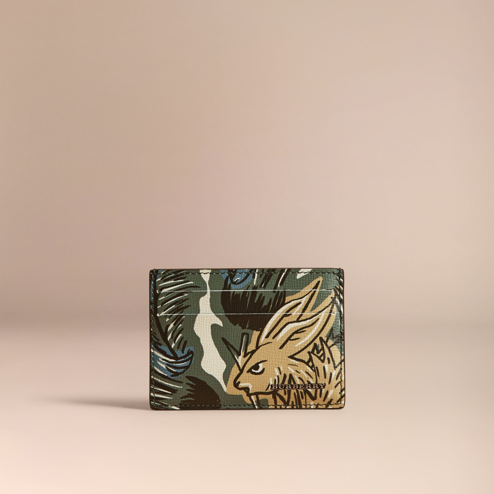 Beasts Print Leather Card Case in Sage Green - Men | Burberry - gallery image 5