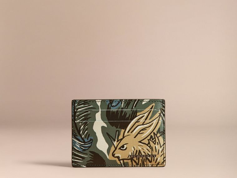 Beasts Print Leather Card Case in Sage Green - Men | Burberry Canada - cell image 4