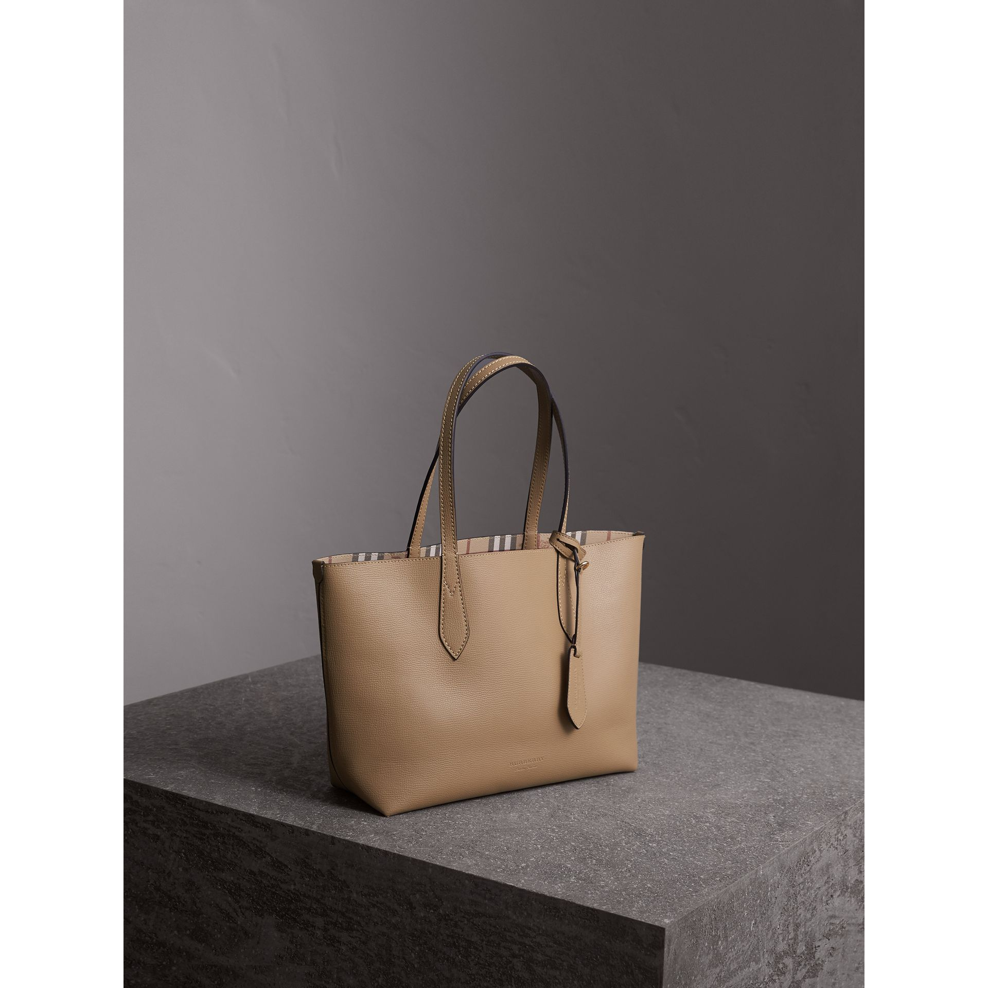 The Small Reversible Tote in Haymarket Check and Leather in Mid Camel - Women | Burberry - gallery image 7