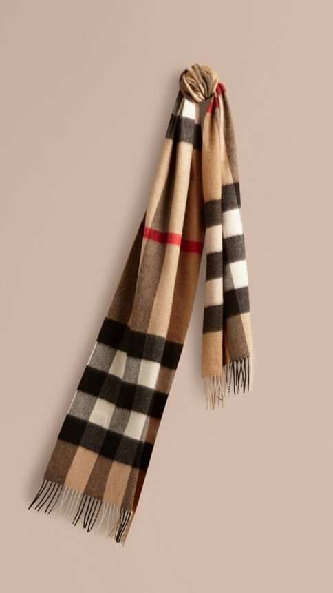 Camel check Giant Exploded Check Cashmere Scarf Camel - Image 1