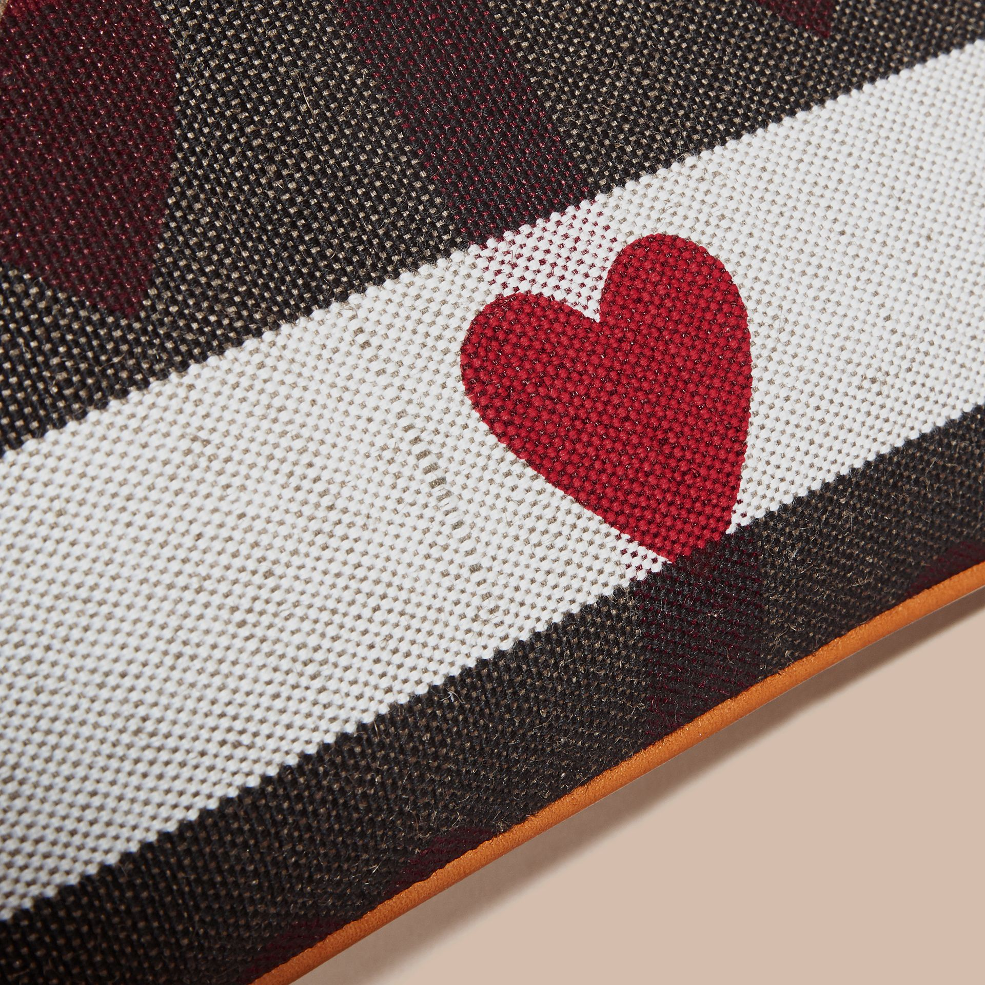 Parade red Heart Print Canvas Check Clutch Bag Parade Red - gallery image 7
