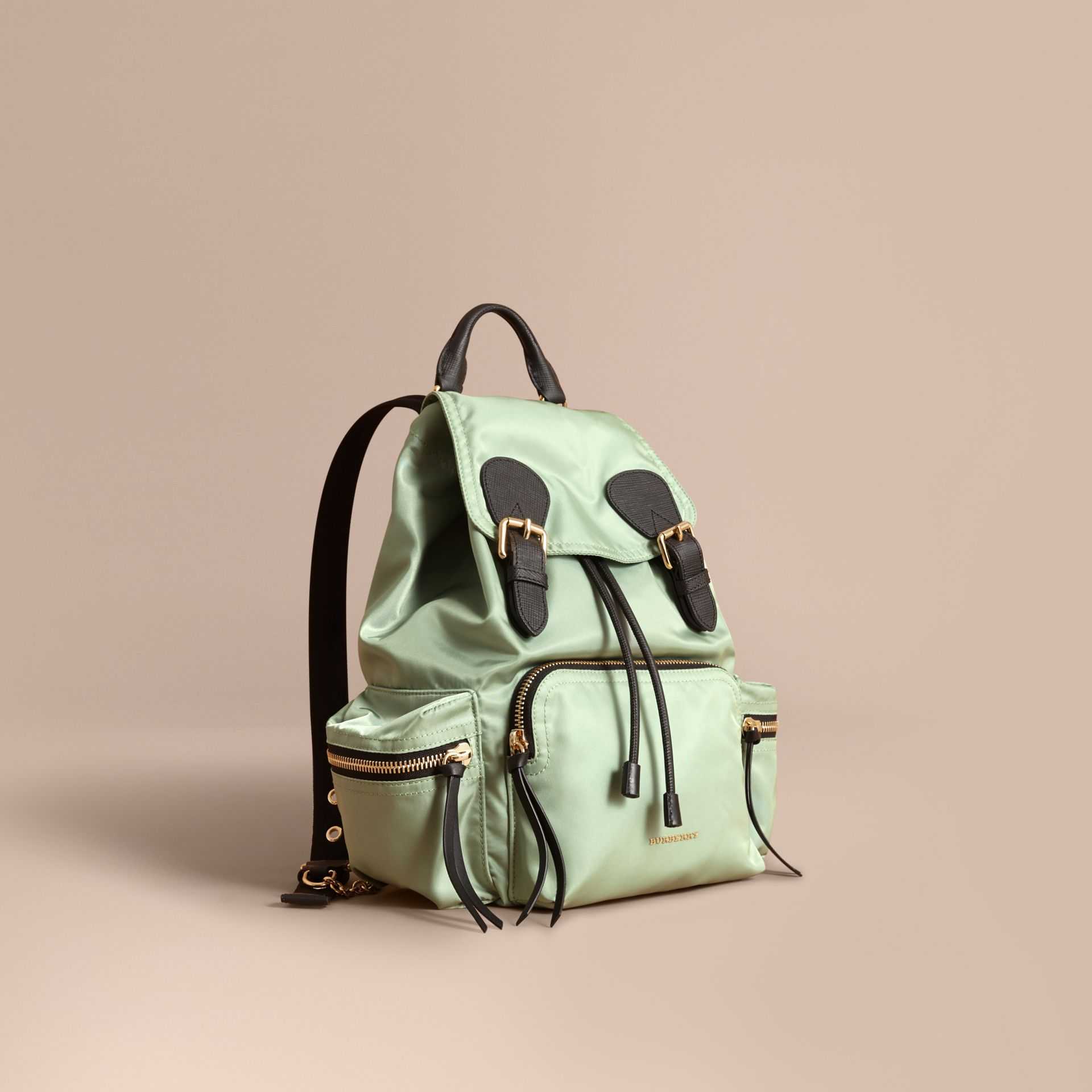 The Medium Rucksack in Technical Nylon and Leather in Apple Green - Women | Burberry Canada - gallery image 1