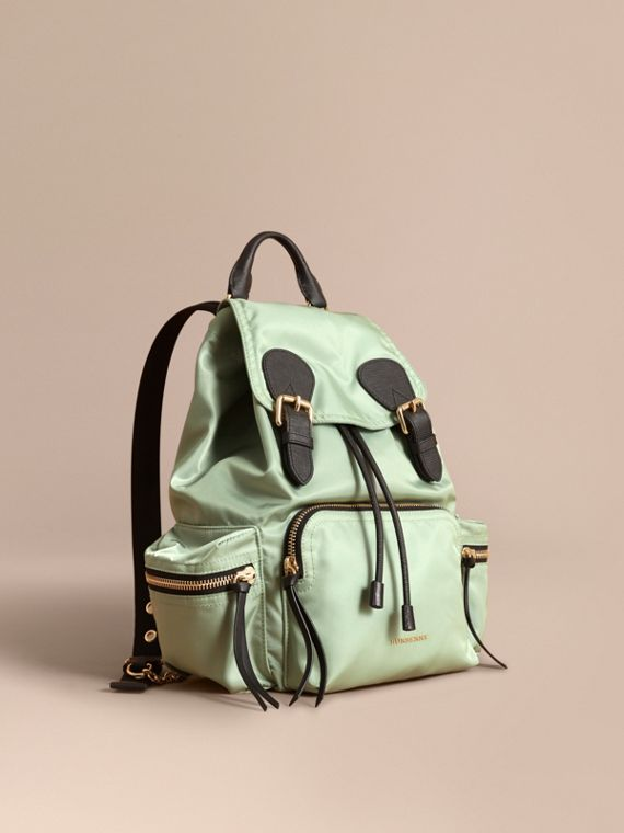The Medium Rucksack in Technical Nylon and Leather Apple Green
