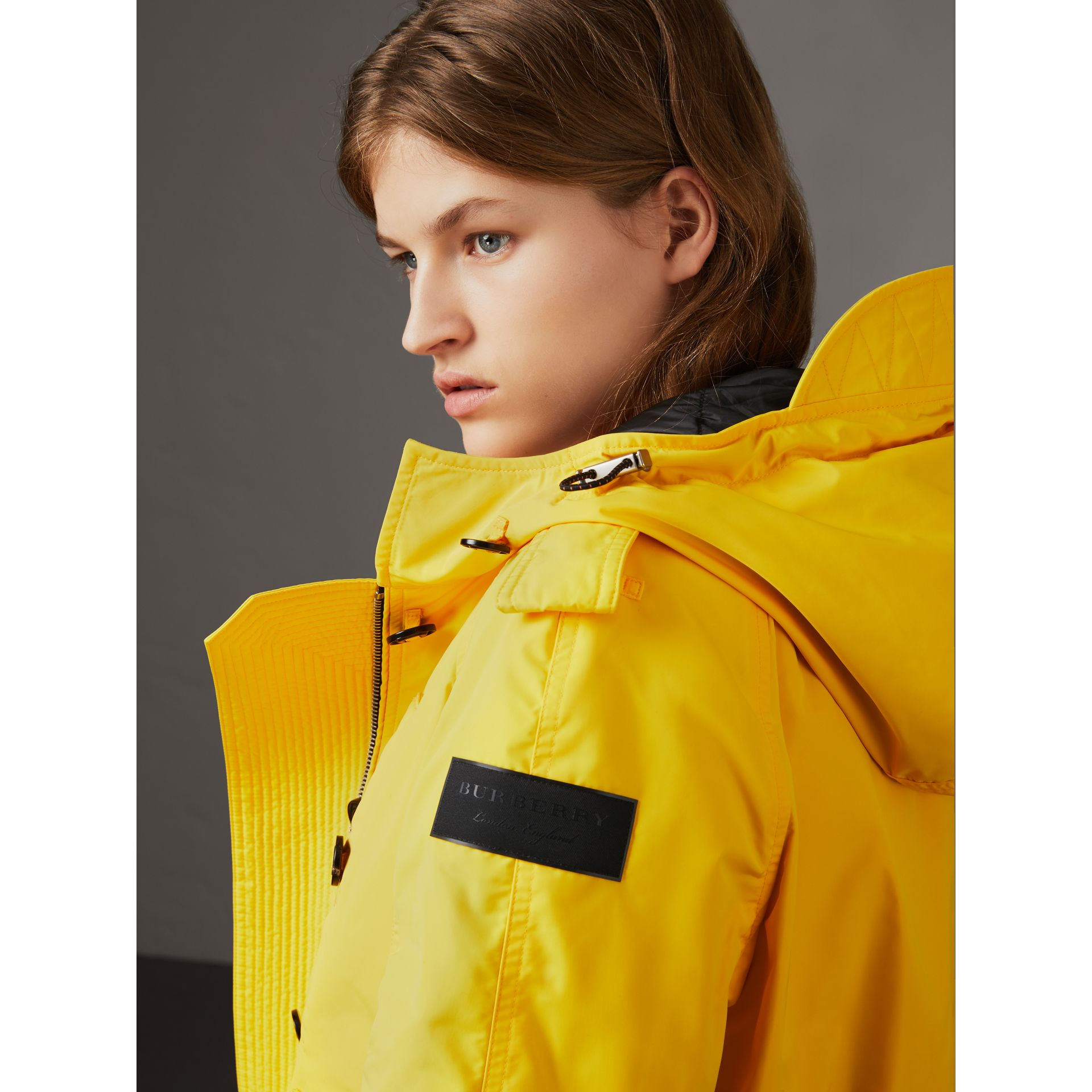 Technical Taffeta Hooded Parka in Bright Yellow - Women | Burberry - gallery image 2