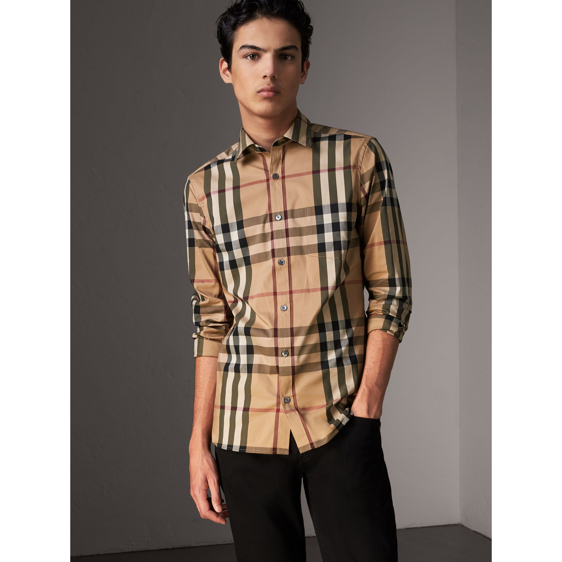 Check Stretch Cotton Shirt in Camel - Men | Burberry Canada - gallery image 0