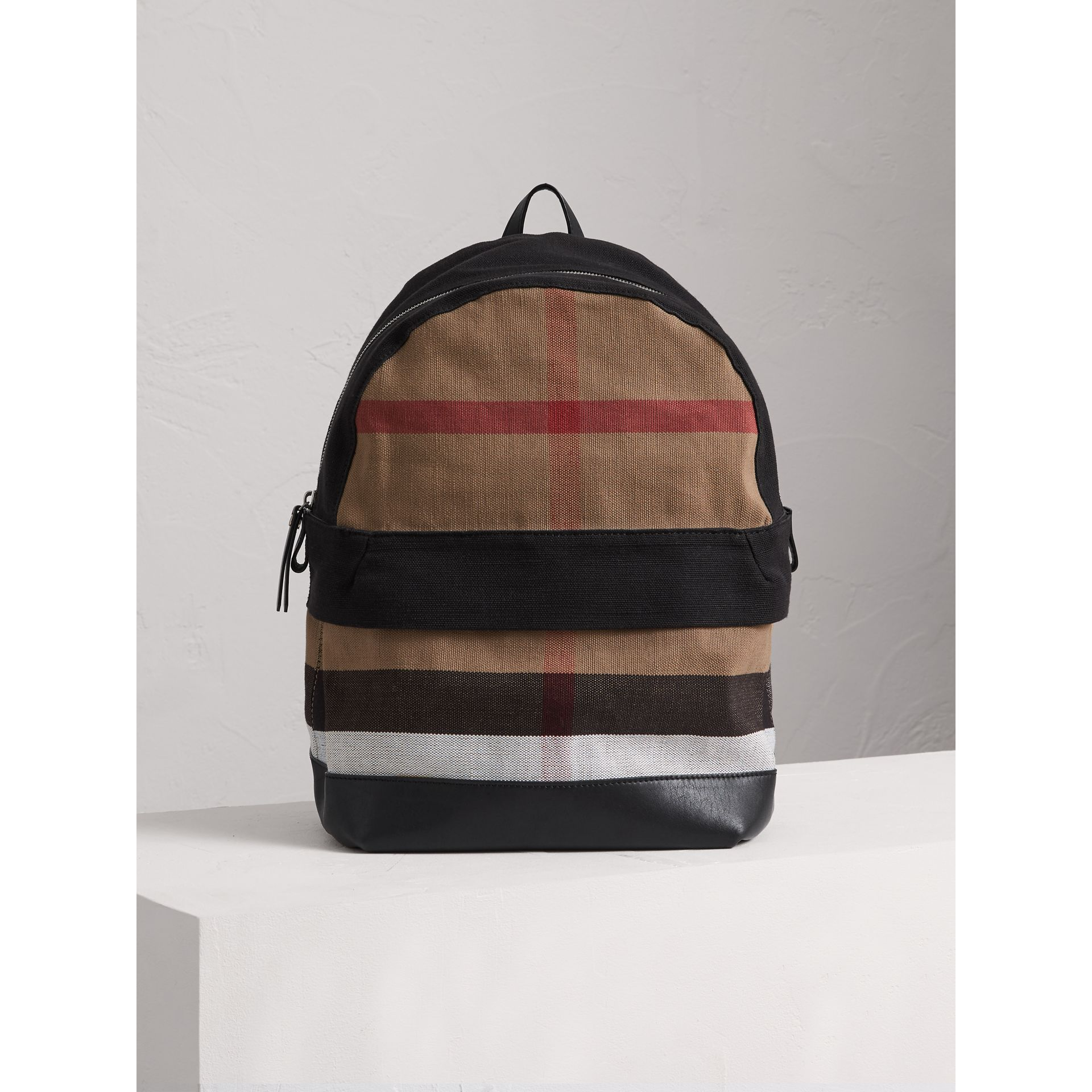 Canvas Check and Leather Backpack in Black | Burberry Australia - gallery image 0