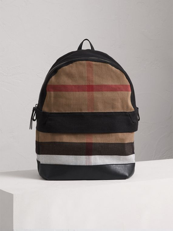 Canvas Check and Leather Backpack in Black