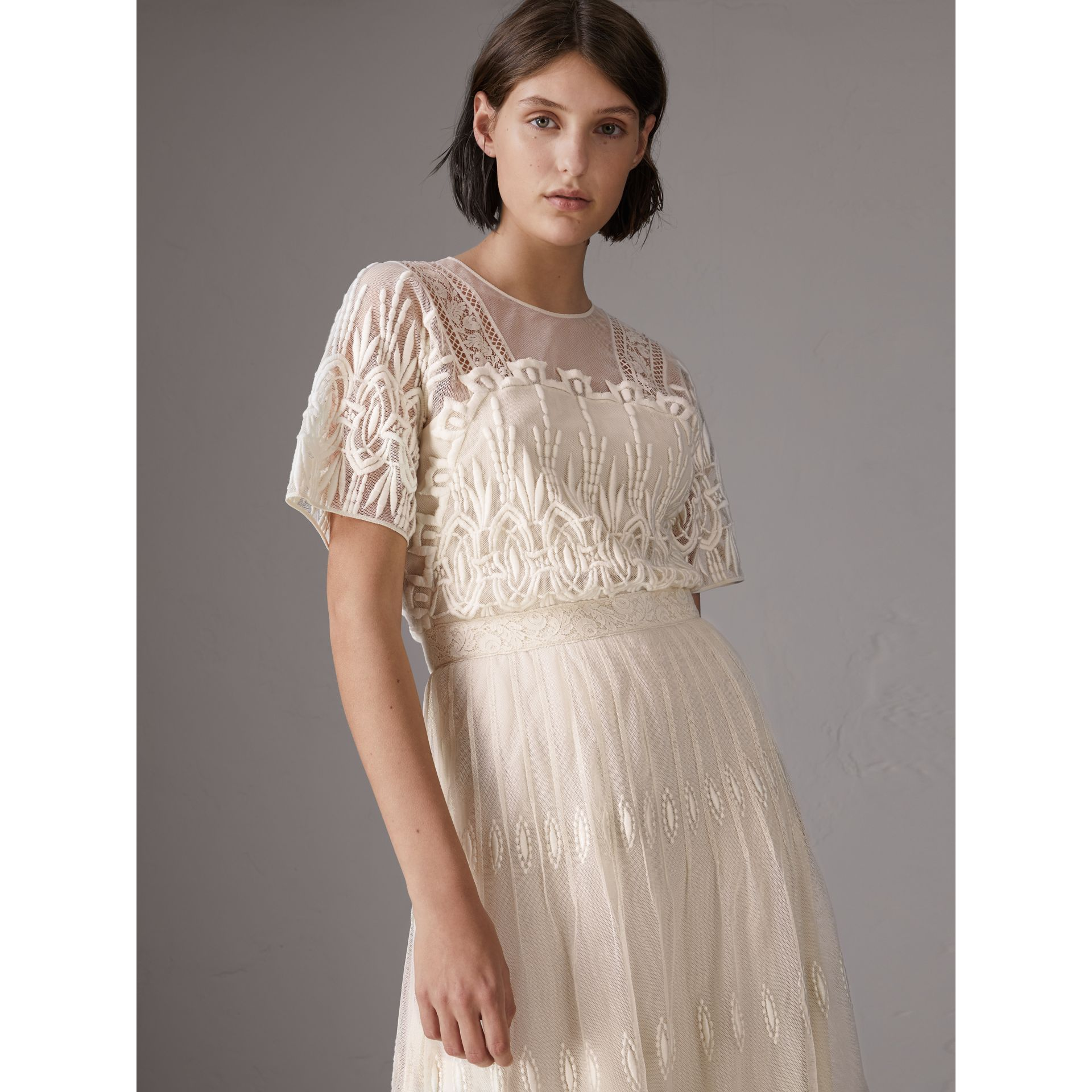 Embroidered Tulle Dress in Natural White - Women | Burberry - gallery image 5