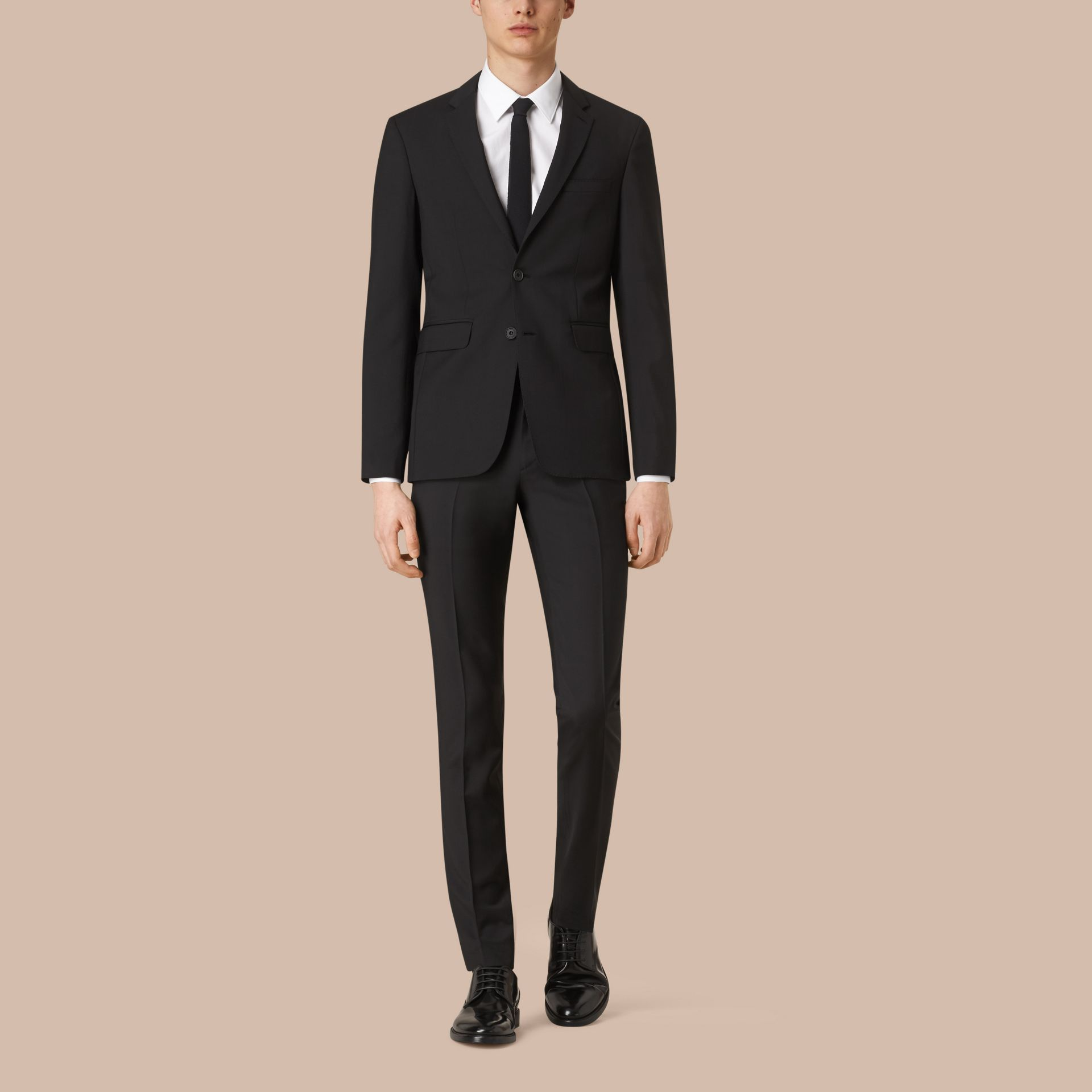 Black Slim Fit Travel Tailoring Lightweight Wool Mohair Suit Black - gallery image 1