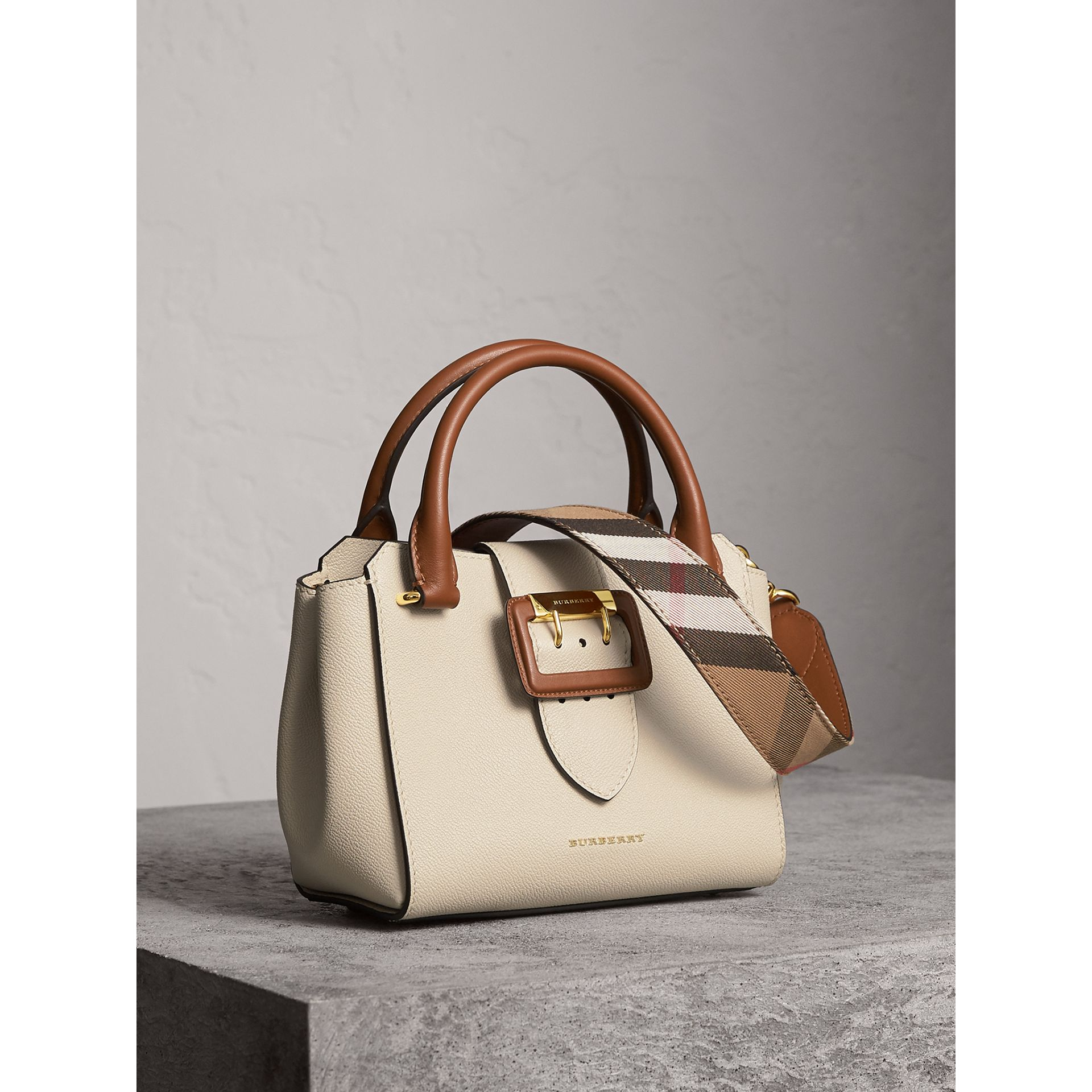 The Small Buckle Tote in Two-tone Leather in Limestone - Women | Burberry United Kingdom - gallery image 8