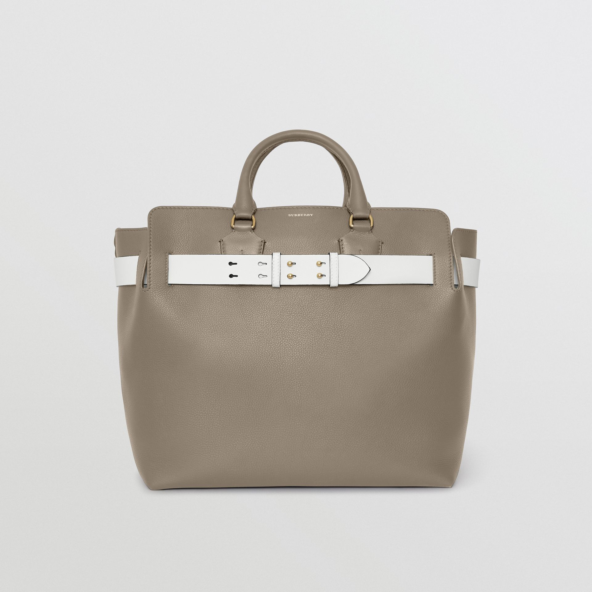 The Large Leather Belt Bag in Mineral Grey | Burberry Australia - gallery image 0