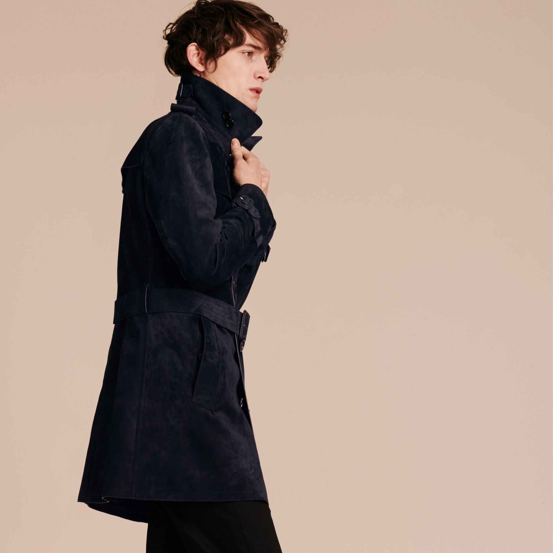 Navy Suede Trench Coat - gallery image 7