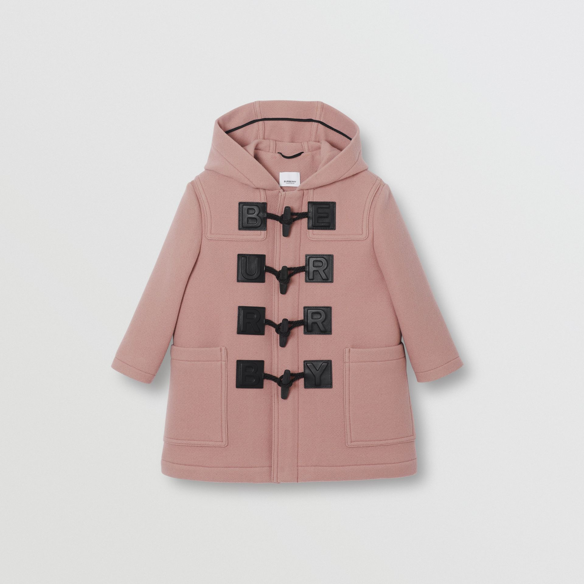 Logo Detail Wool Cashmere Blend Duffle Coat in Lavender Pink | Burberry United Kingdom - gallery image 0