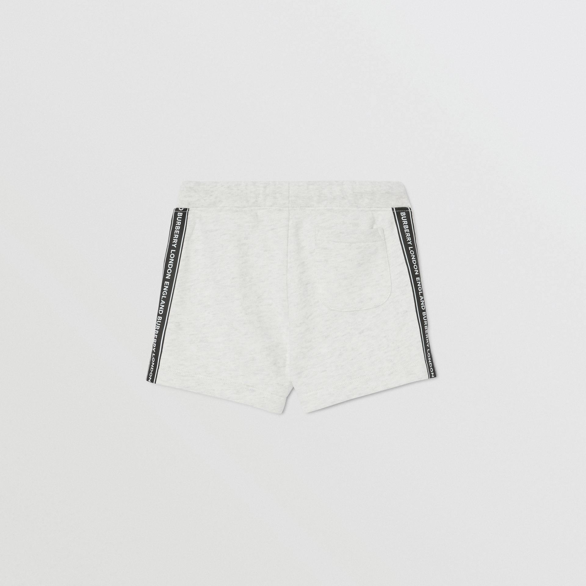 Logo Tape Cotton Drawcord Shorts in White Melange - Children | Burberry - gallery image 4