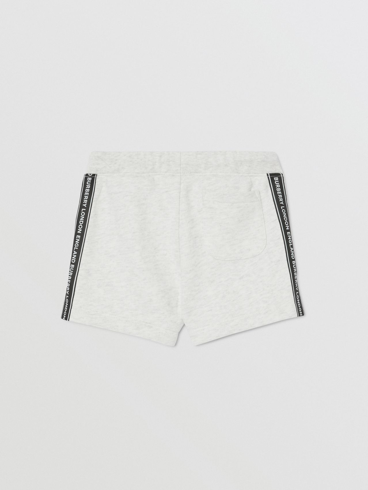 Logo Tape Cotton Drawcord Shorts in White Melange