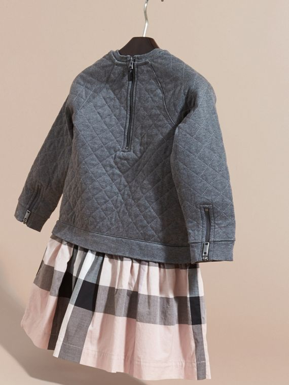 Dark grey melange Quilted Jersey and Check Cotton Day Dress Dark Grey Melange - cell image 3