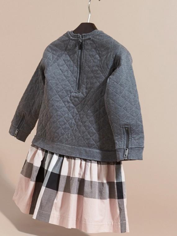 Camaïeu de gris sombres Robe de jour matelassée en jersey et coton à motif check Camaïeu  Gris Sombres - cell image 3