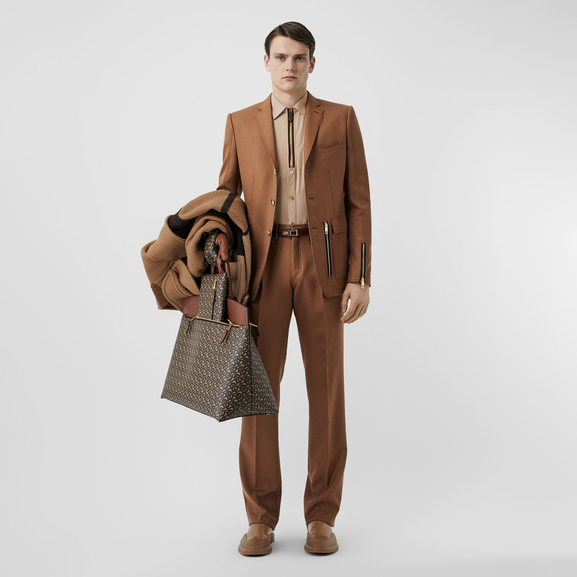 Zip Detail Wool Twill Pleated Trousers in Dark Walnut - Men | Burberry - gallery image 0