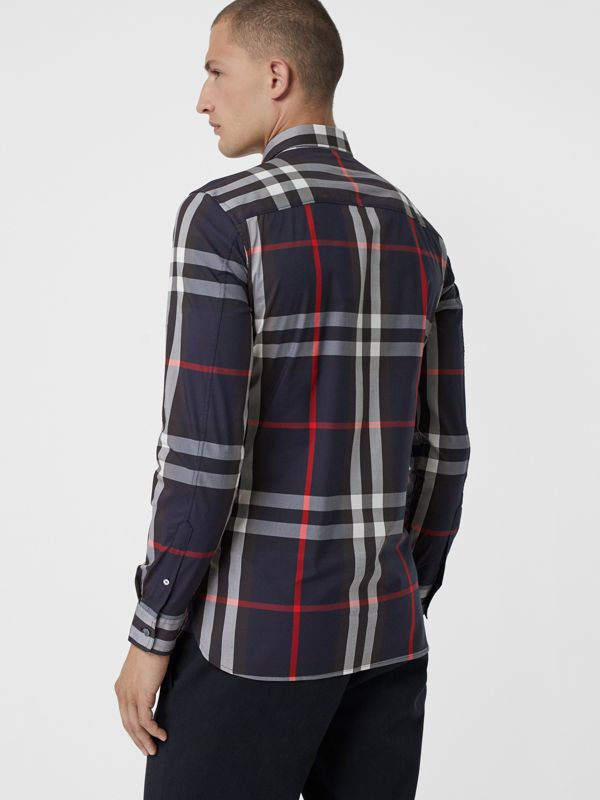Check Stretch Cotton Shirt in Navy - Men | Burberry United Kingdom - cell image 2